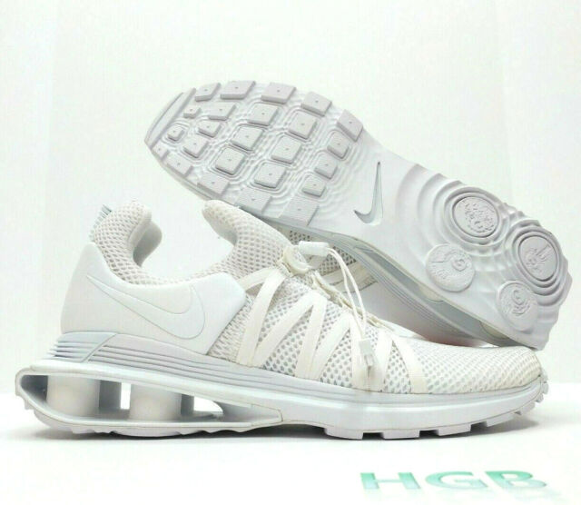 online store 52305 630ac Nike Shox Gravity Mens Triple White Running Training Shoes AR1999-100 NIB