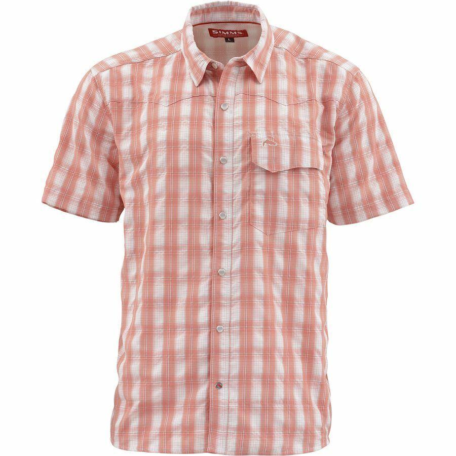 Simms  gree cielo Short Sleeve Shirt Conch Shell Plaid  Diuominiione XL  Closeout