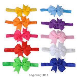 20pcs-Elastische-Baby-Maedchen-Bogen-Haarband-Stirnband-Kopfband-Haarschmuck-Neu