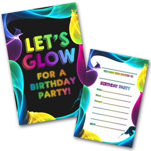 WRITE ON Glow Party Invitations Pack /& Envelopes Free delivery