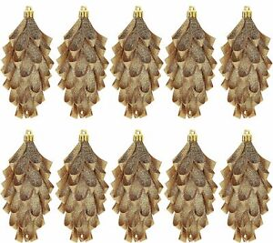 Set of 10 Glittered Ribbon Pinecone Ornaments by Valerie