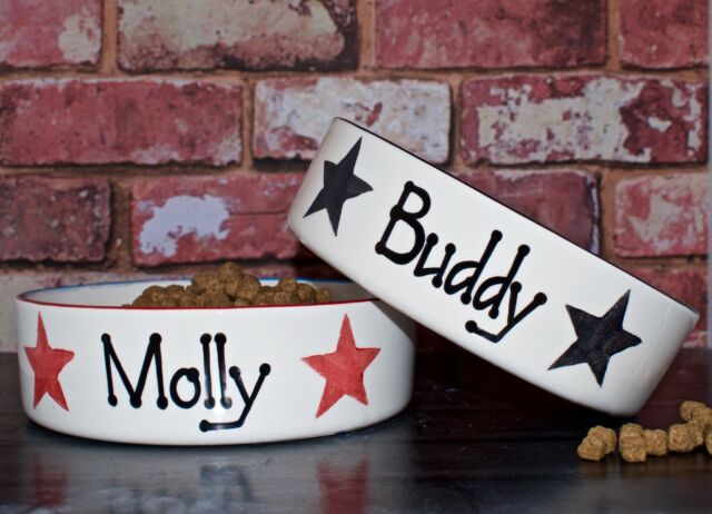 Large Personalised Hand Painted Ceramic dog puppy star print bowl dish feeder