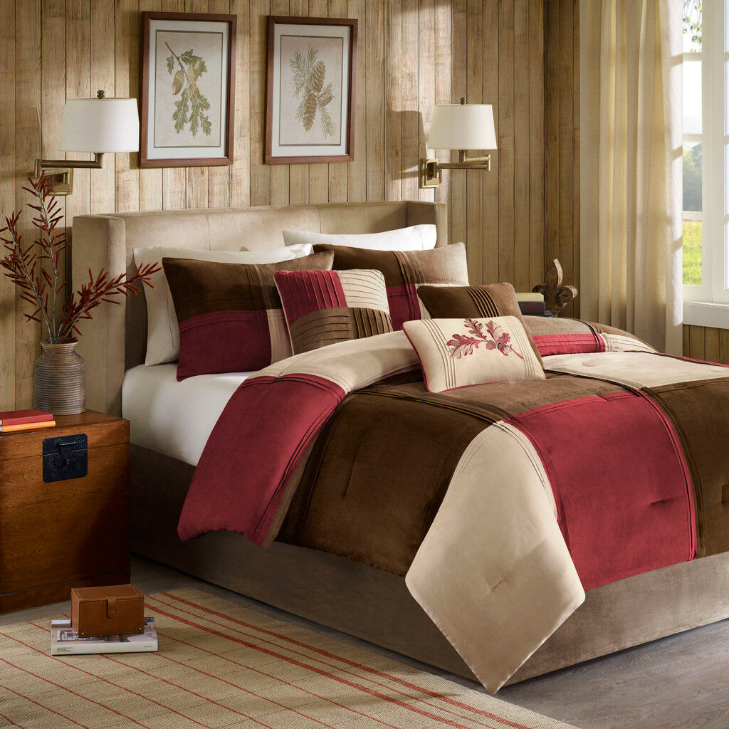 BEAUTIFUL ULTRA SOFT PLUSH COZY CABIN braun TAN IVORY rot LEAF COMFORTER SET NEW