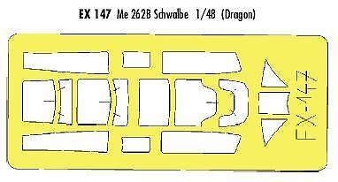 Eduard 1//48 Messerschmitt Me 262B Schwalbe paint mask for Dragon kit # EX147
