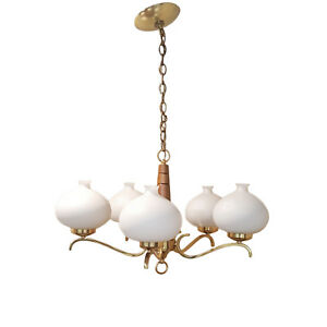 Image Is Loading Vintage Dining Room Chandelier Glass 5 Light Fixture