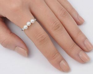 Three-Pearl-Ring-Sterling-Silver-925-Best-Price-Freshwater-Jewelry-Selectable