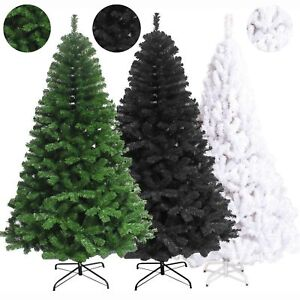 5FT-6FT-7FT-Christmas-Tree-Artificial-Green-White-Black-Xmas-Home-Decoration