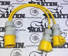 Marten® 110v 32a PCE Plug to 2 x 32a PCE Sockets 2 Way Splitter Cable