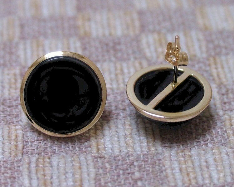 NEW 14K YELLOW gold 17mm ROUND ONYX BUTTON EARRINGS