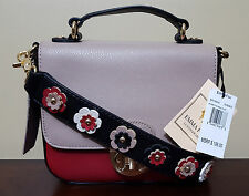 NWT Emma Fox Red Black Tan Color Block Leather Flower Strap Purse Handbag *RARE*