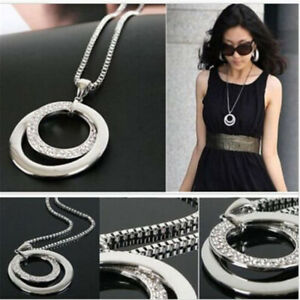 Women-Long-Chain-Fashion-Crystal-Rhinestone-Pendant-Silver-Plated-Necklace-Gift
