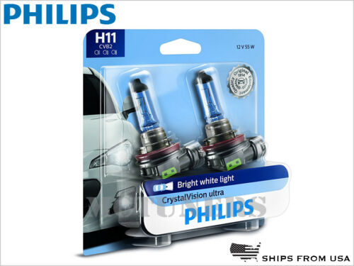 NEW 2x PHILIPS H11 CRYSTAL VISION ULTRA HEADLIGHTS 4000K 12362CVB2 12V 55W PAIR