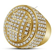 10K Solid Yellow Gold Men's 3CT Clear Diamond Engagement Wedding Pinky Ring Band