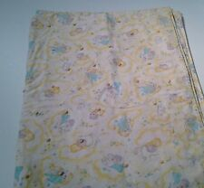 Vintage Handmade Flannel Baby Quilt Yellow Baby Dog Floral Print 34 X 50