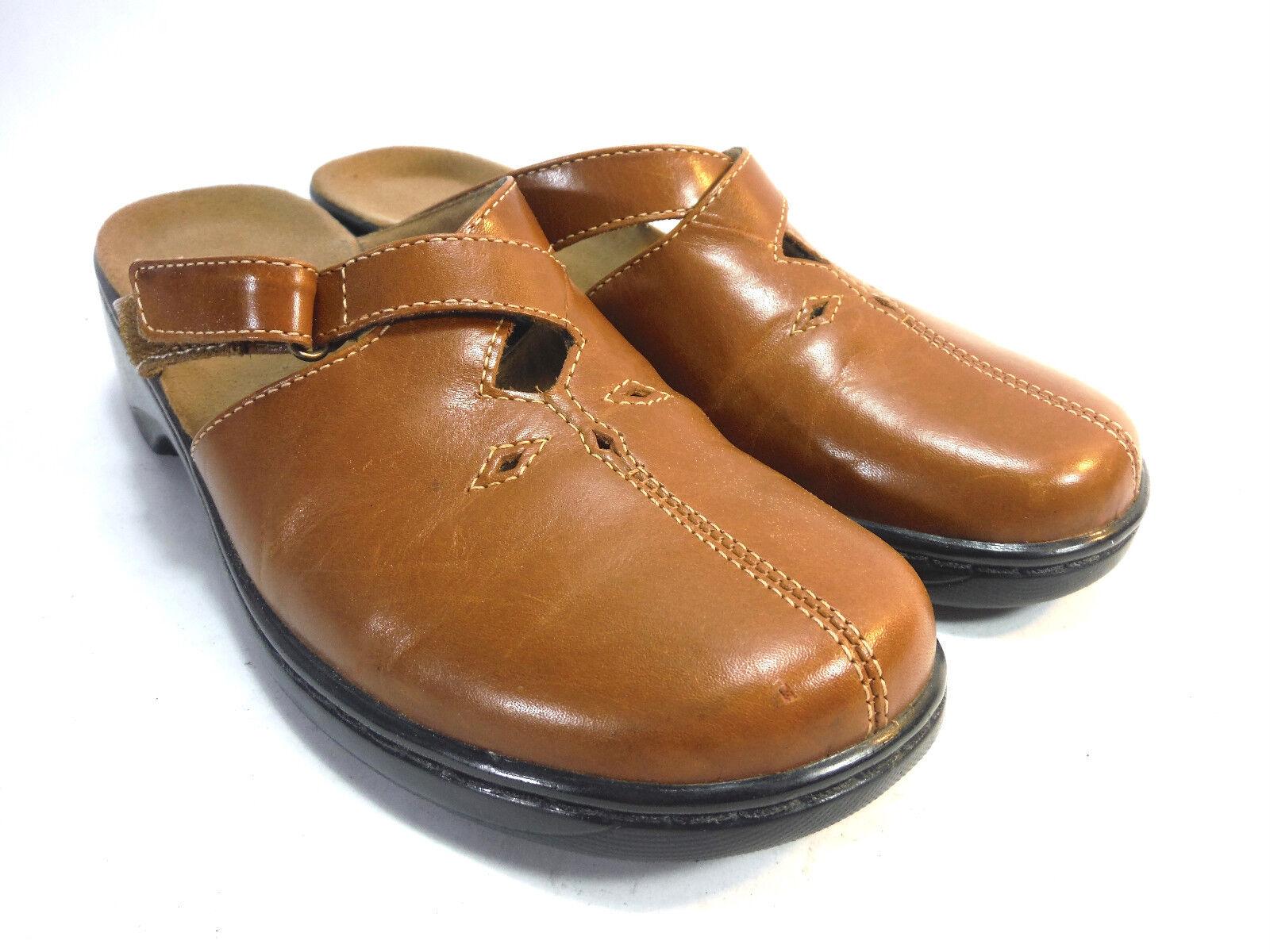 talon ouvert trois croix cuir brun confort sangle mocassin confort brun clog chaussures 8 68220a
