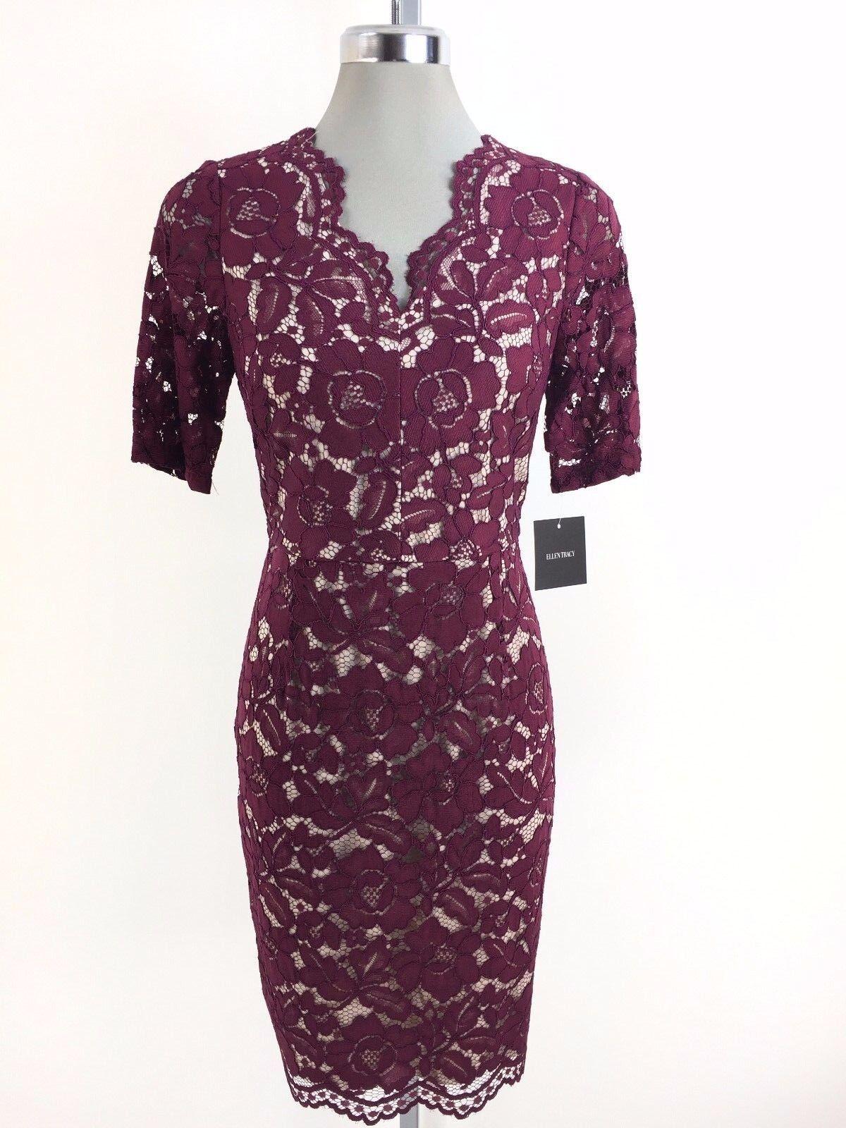 Ellen Tracy NWT Elegant MERLOT Scallop Lace Dress, size 4