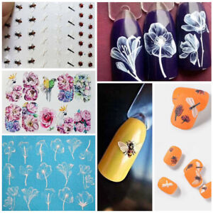 Nail-Art-Transfer-Sticker-Bee-Blooming-Flower-Decal-DIY-Manicure-Decoration-Tips