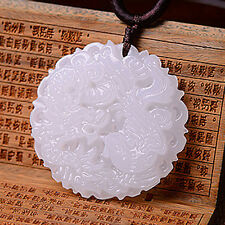1Pc Natural White Jade Pendant Dragon&phoenix Hand-carved Amulet Chinese Lucky