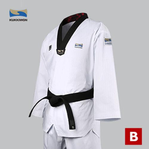 Kukkiwon Suits BS4.5 Dobok Taekwondo Uniform Black V Neck Mooto KKW Patches Logo