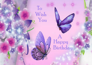 Details About Female Ladies Happy Birthday Greetings Card Beautiful Flowers And Butterflies