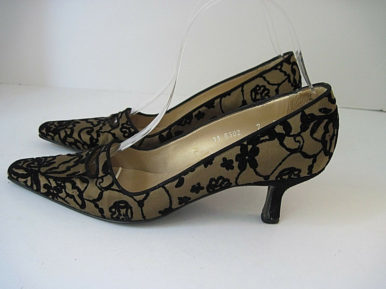 Authentic Pancaldi Made Italy Womens Brown Black Silk Dress Pumps Size 7B