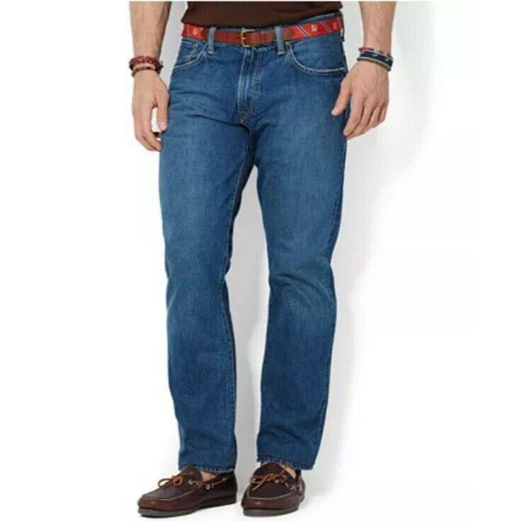 POLO RALPH LAUREN Mens Medium Wash Bootcut Straight Leg Jeans Size 36x30