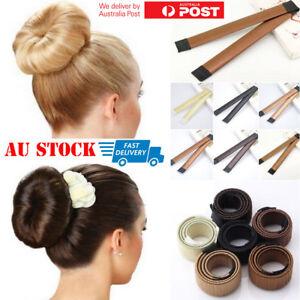 Women-039-s-Magic-Hair-Bun-Snap-Styling-Donut-Former-French-Twist-Band-Maker-Tool-AU