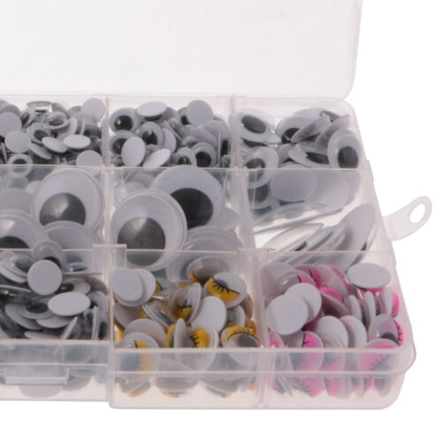 1100pcs 12 size Wiggly Google Googly Craft Eyes Scrapbooking Non-adhesive