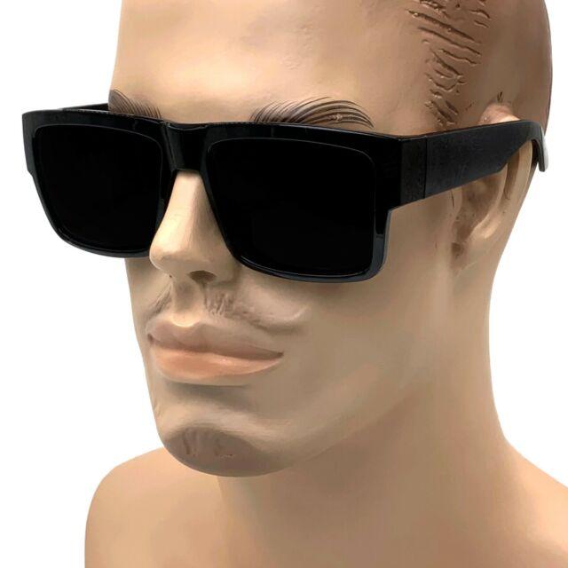 Mens Super Dark Lens Cholo Sunglasses Gangster Style Large OG Oversized Black