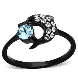 Details about Stainless Steel Ion Plated Black Aquamarine Crystal Dolphin  Ring