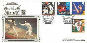 22-Carat-Gold-Benham-Official-First-Day-Cover-1991-Year-Of-Sport-Wembley-PM-G057