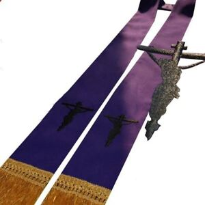 1pc-Church-Clergy-Communion-Confessional-Stole-Crucifix-Embroidered-Stole-Purple