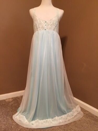 Vintage Nightgown long Flowing Chiffon gown Henson