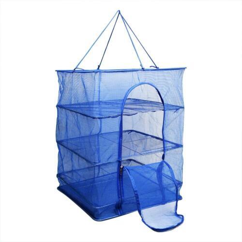 Foldable 4 Layers Fish Net Drying Rack Folding Mesh Hanging Hanger Dryer