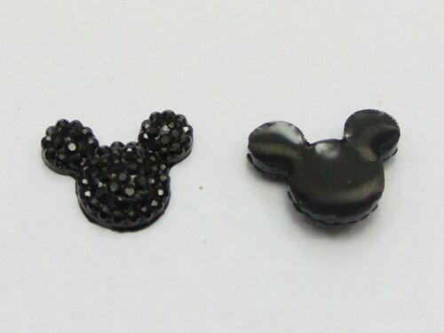 50 Negro Resina Dorso duro para Libros de cabeza de ratón gemas con puntos Diamantes de Imitación 14X12mm