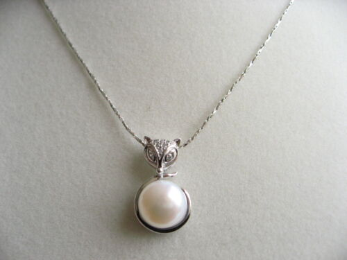925 Stamped Sterling Silver Cultured Freshwater Pearl Fox Pendant Chain Necklace