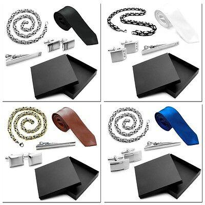 1 Set Krawatte Krawattennadel Herrenkette Königskette Manschettenknöpfe in Etui