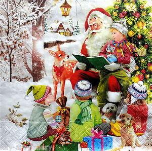 4-Single-Vintage-Paper-Napkins-for-Decoupage-Decopatch-Lunch-Santa-amp-Children