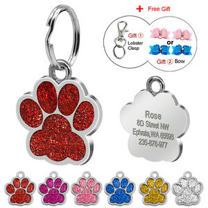 Bling Paw Custom Dog Tags Disc Glitter Engraved Pet Puppy Cat Kitten Name ID Tag