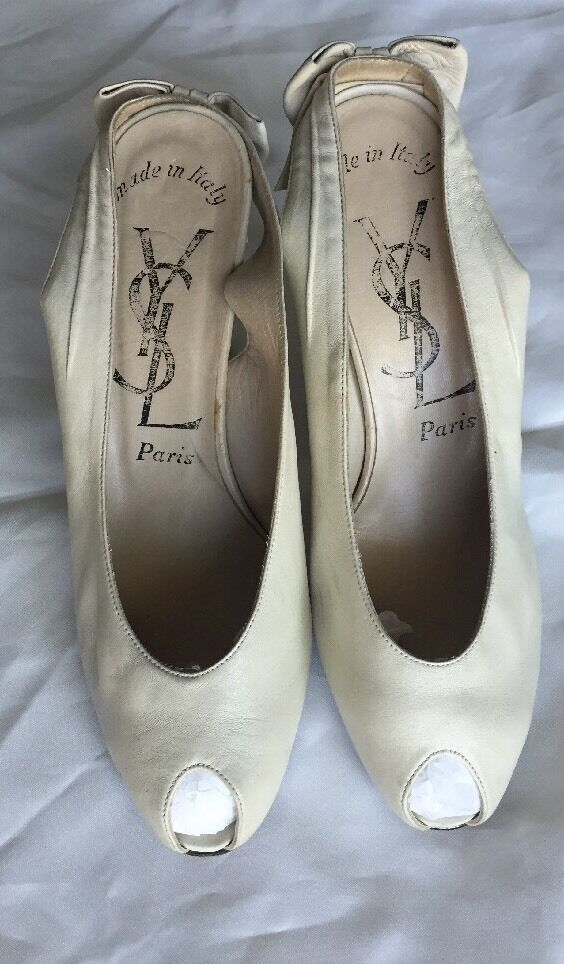YSL PARIS WOMEN'S SHOES IVORY LEATHER UPPER OPEN TOE /SLING BACK BOW US SIZE 8N