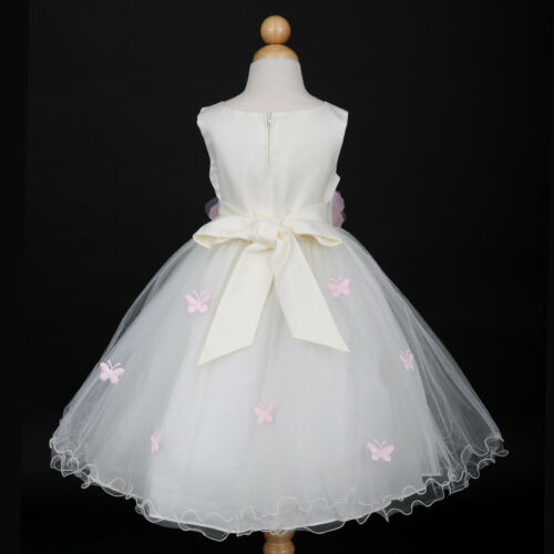Ivory//Pink Toddler Party Wedding Flower Girl Dress 6M 12M 18M 2//2T 3//4 5//6 8 10