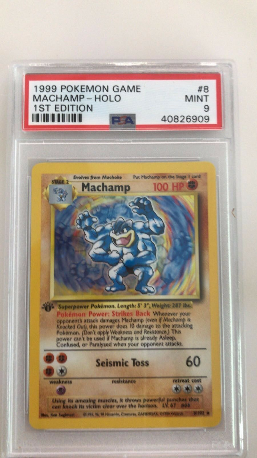 1st 1st 1st Edition Holo MACHAMP Holo 8 102 PSA 9 935297