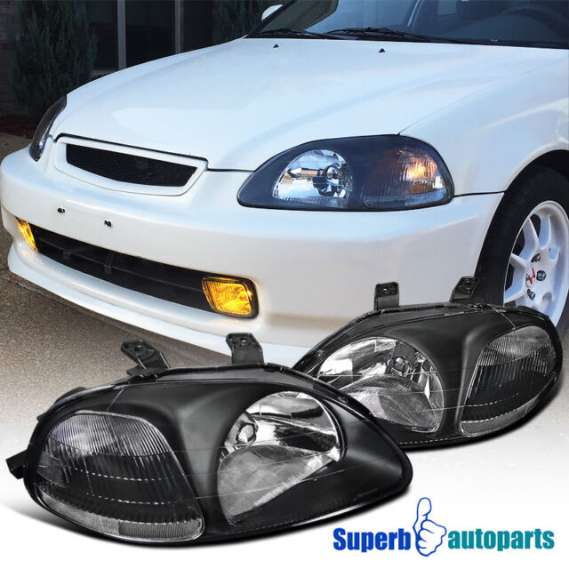 For 1996 1998 Honda Civic JDM Black Headlights Head Lamps W/ Clear Reflector