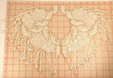 2 appliques matching pair collar shoulder fringe ivory white pearl silver accent