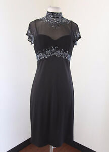 Vtg-Stenay-Black-Mesh-Cutout-Collared-Beaded-Sequin-Cocktail-Evening-Dress-Sz-8