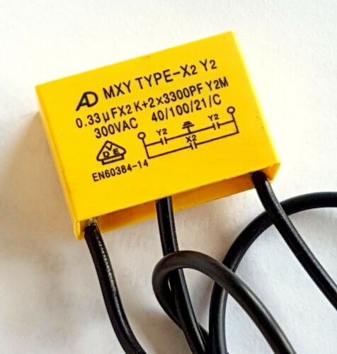 + 2x 3300pF group 2 Safety capacitor X2 Y2 250vAC MXY –ref:833 0.33uF group2
