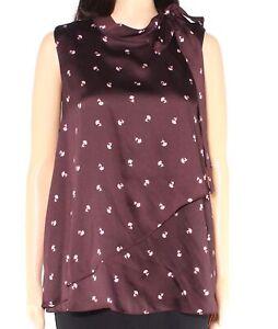 Vince Camuto Womens Blouse Brown Size Medium M Floral-Print Neck-Tie $89- 201