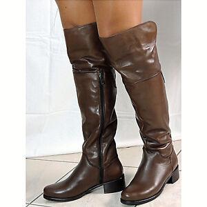 d614baadf2 Dettagli su Stivali sopra ginocchio pelle marrone fodera pelliccia eco  scarpe Rose Noir 5010