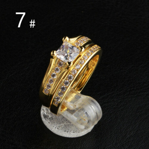 18K Gold Plated Stainless Steel Wedding Couple Ring Engagement Rings Set 2 pcs