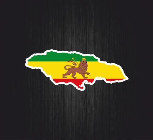 Autocollant sticker voiture rasta jah reggae drapeau ethiopie lion carte pays